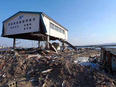 The earthquake and tsunami-hit areas<br />(Arahama, Watari City of Miyagi Prefecture. April 12, 2011)